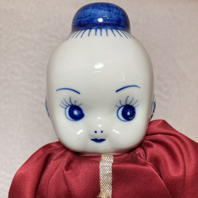 "Chinese Doll Delft Style Blue & White Porcelain Vintage Traditional 12"" Tall"