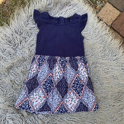 Nautica Little Girls Size 4T Navy Blue Floral Paisley Ruffle Sleeve A-Line Dress