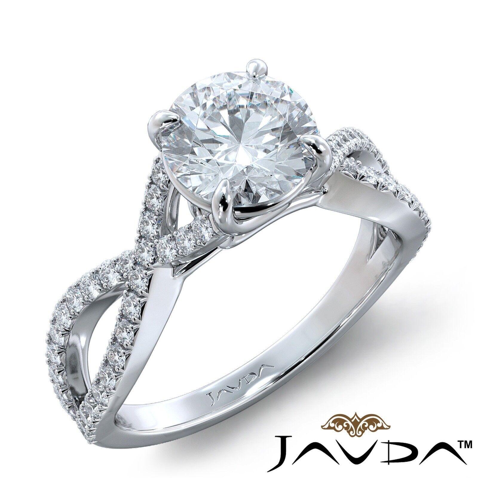 2.74ctw French Pave Sidestone Round Diamond Engagement Ring GIA J-SI1 White Gold