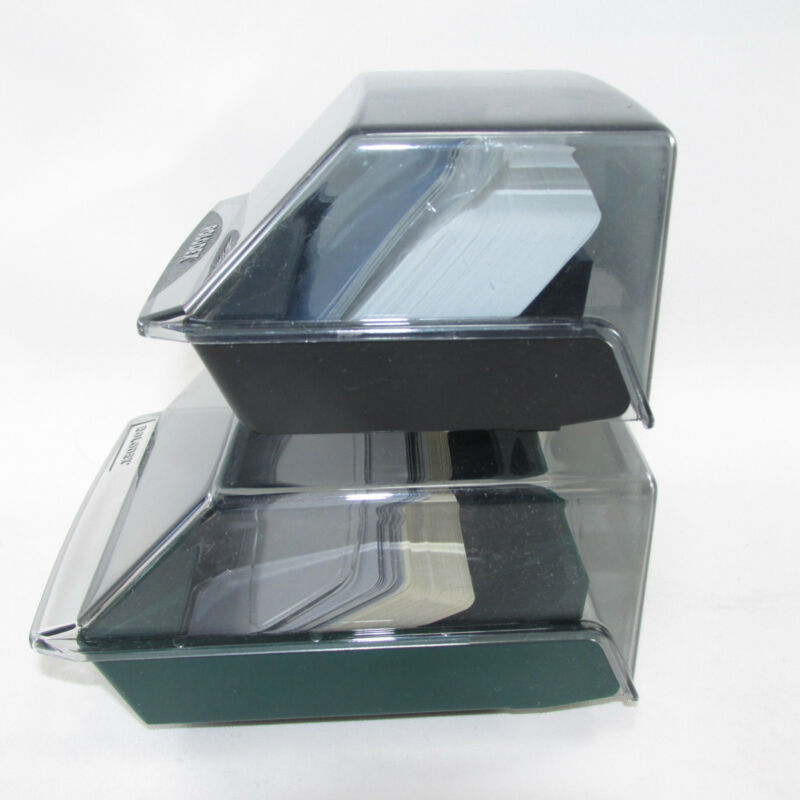 2 Rolodex Card Files With Cards Black Green 2.25 X 4