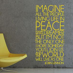 Imagine John Lennon Song Lyrics Peace Wall Sticker Decal ...