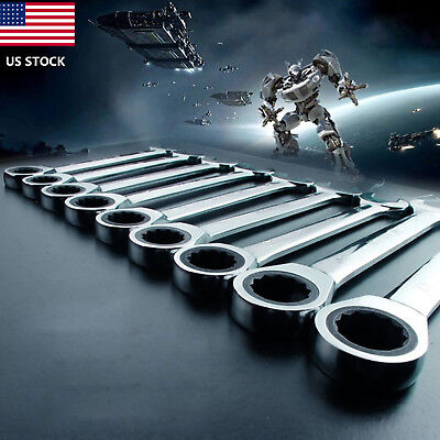 6-32mm Reversible Ratchet Metric Spanners Open End & Ring Socket Wrench Tool US - Open End Ratchet Wrench
