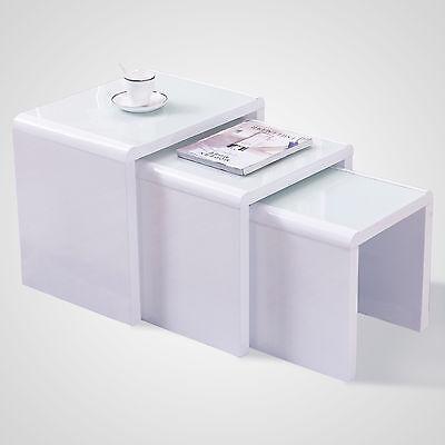 High Gloss Nest of 3 White + White Glass Coffee Table Living Room Modern Design