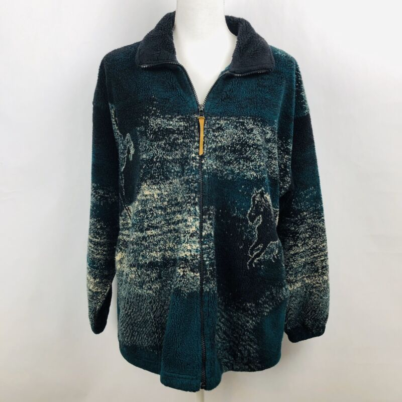 BEAR RIDEGE OUTFITTERS Women's Horse Fleece Jacket Size Medium Older & Worn