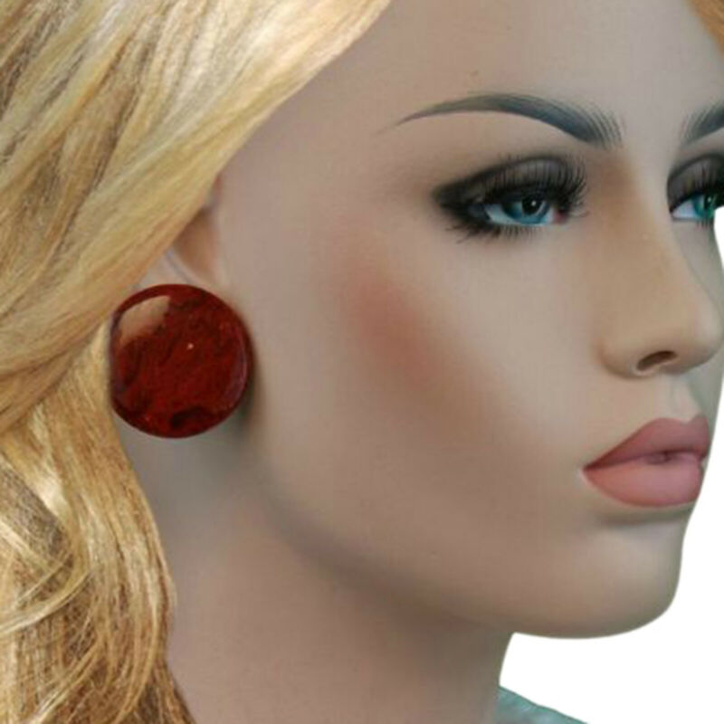 "Dark Red Marbled Bakelite Large Button Disc Clip On Earrings Vintage 1 3/8"""