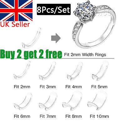 8Pcs Set Invisible Design Ring Size Clip Guard Resizer Reducer Adjuster UKSeller