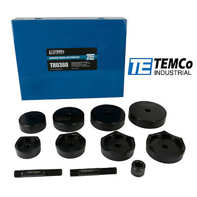 Temco Industrial 2-12 3 3-12 4 Conduit Punch And Die Set For Knockout