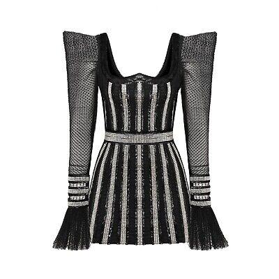 RAISA&VANESSA Embroidered Mini Dress Black Celebrity Luxury Size 36 NWT $3800