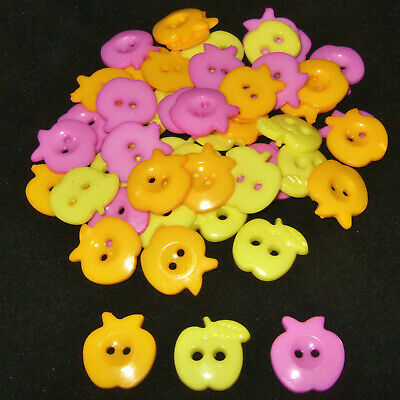 50pcs Mixed large APPLE buttons - 21mm-22mm assorted acrylic sewing and crafts