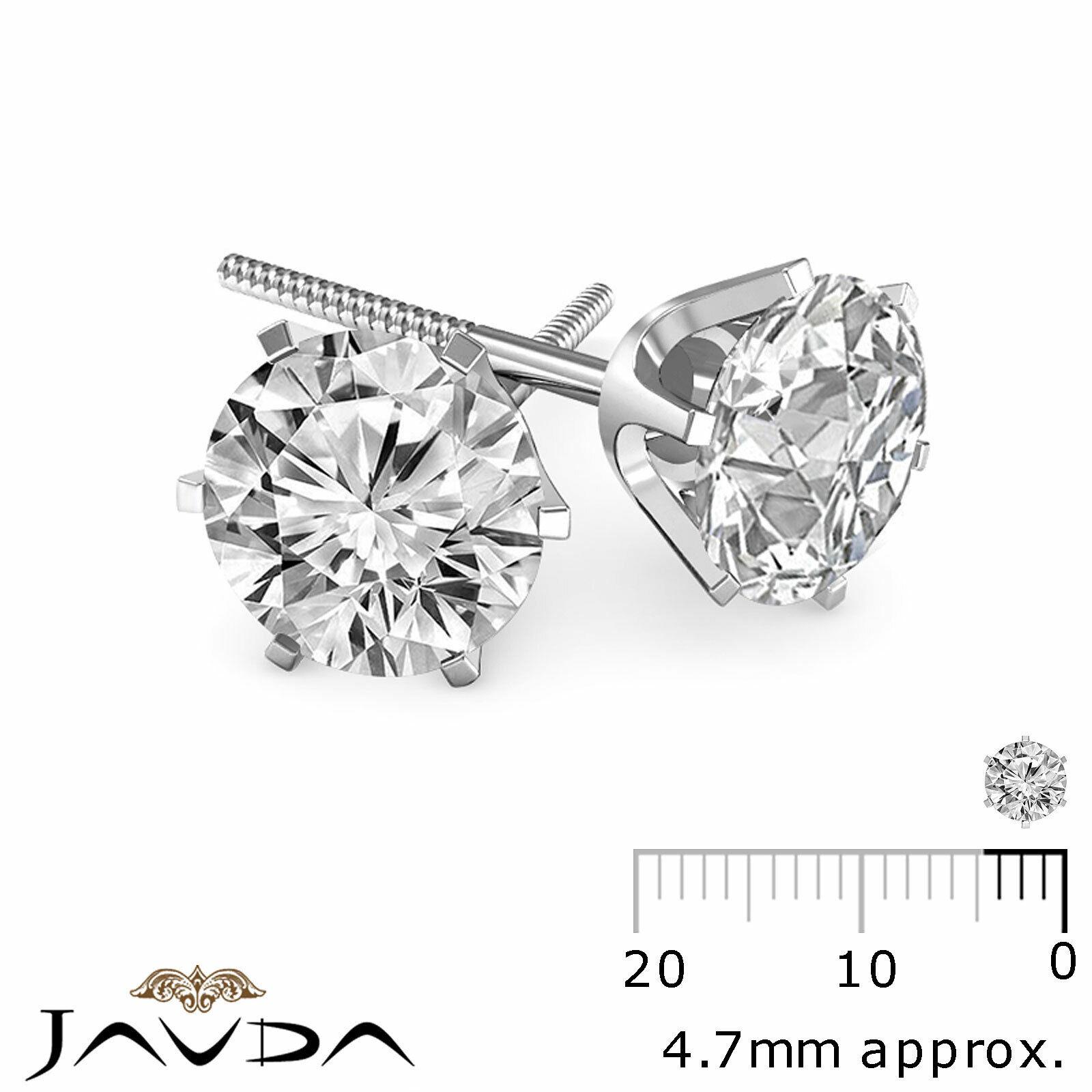 Round Diamond Light Weight Screw Back 1 Pair Women's Stud Earring Gold 0.54 ctw.