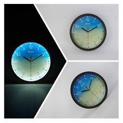 ø12'' Modern Luminous Wall Clock Silent Quartz Night Glowing Clock Decorative