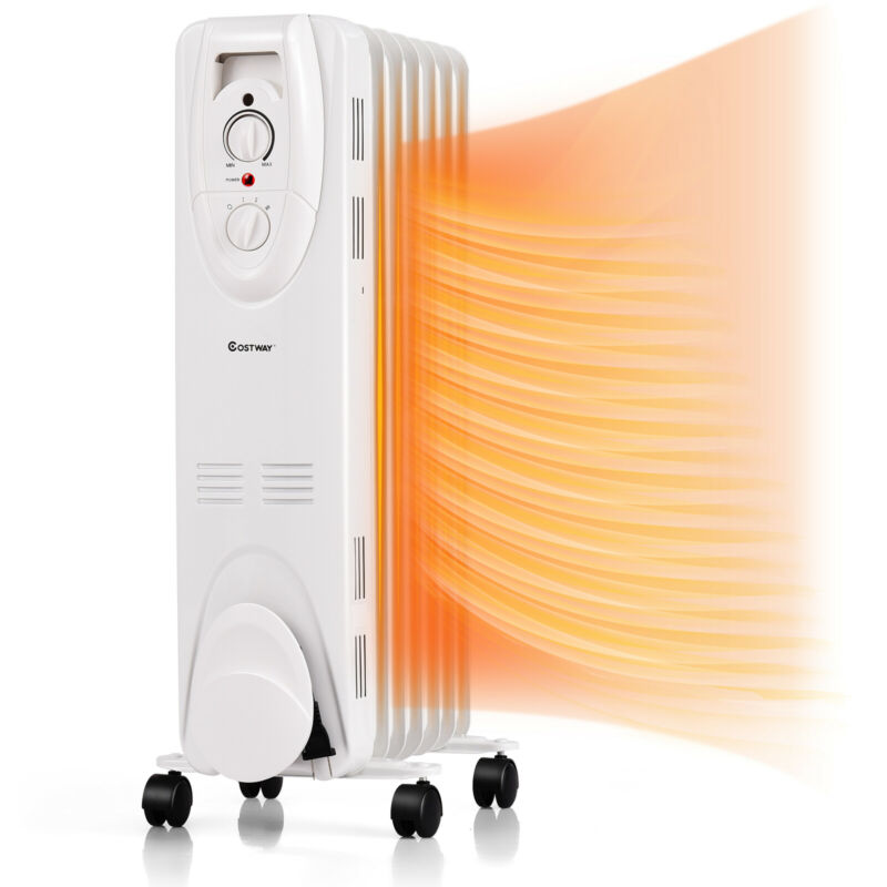 1500W Oil Filled Heater Portable Radiator Space Heater w/ Adjustable Thermostat