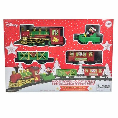 DISNEY Mickey Mouse Holiday Express 12 Piece Train Set w/ Lights & Sound - NEW