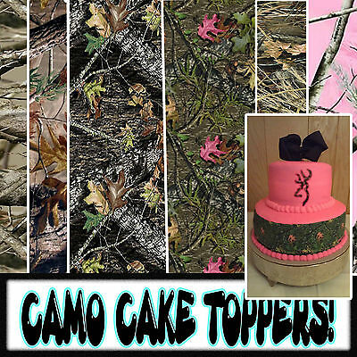 Edible Camouflage Cake toppers side strips picture image birthday tops - Camouflage Birthday Cake