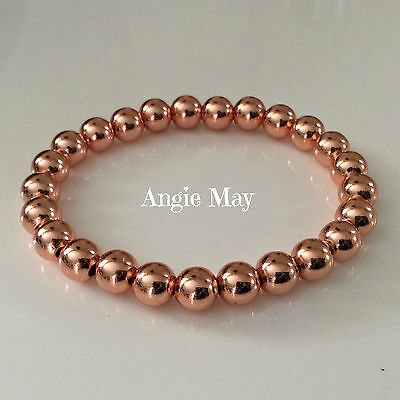 - Solid Copper 8mm Beaded Healing Stretch Bracelet 6