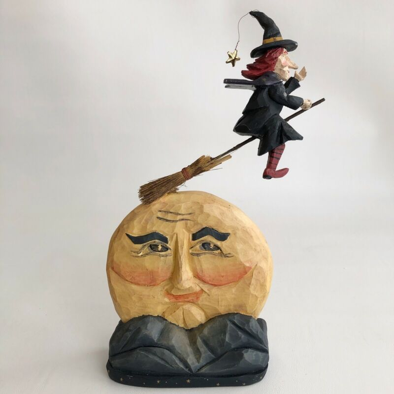 VINTAGE HALLOWEEN HOUSE OF HATTEN WITCH FLYING OVER MOON FIGURINE RARE