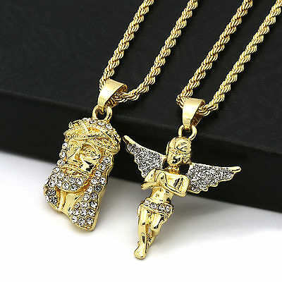 "Men 14k Gold Plated High Fashion 2 pcs Jesus & Angel 2mm 30"" & 24"" Rope chain 07"