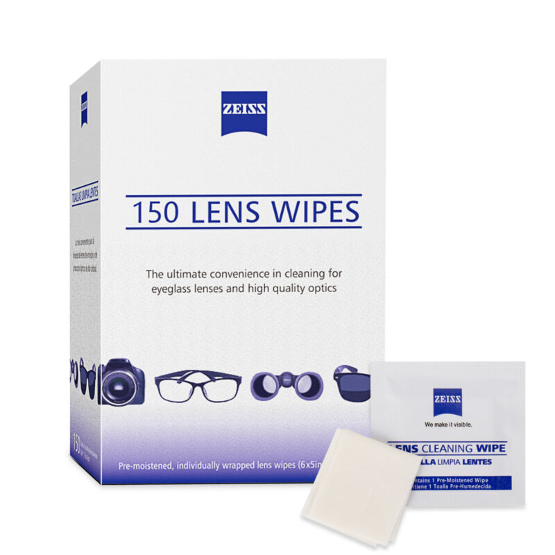 Zeiss Pre-Moistened Lens Cloths Wipes 150 Ct Glasses Camera Phone Cleaning New