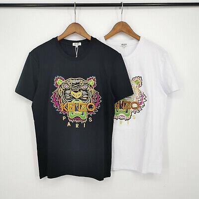 Couple Embroidered tiger Kenzo Paris cotton T-Shirt, Tiger, Black, White new