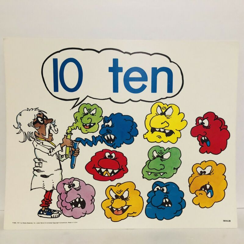 Vintage Number 10 Ten Poster Card Electric Company 1985 Educational Chemistry