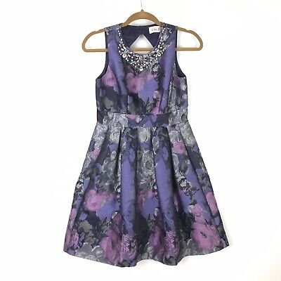 Eliza J Women 2P Petite Skater Dress Fit Flare Purple Flower Brocade Jeweled ](Purple Brocade Dress)