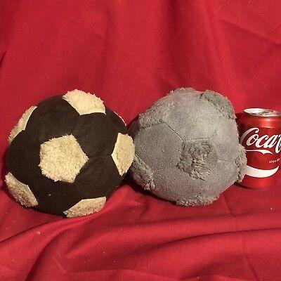 Fleece Squeaky Toy - 2x Dog Toy Squeaky Fleece Footballs Soft Grey Brown Puppy Cuddle Buddy 6
