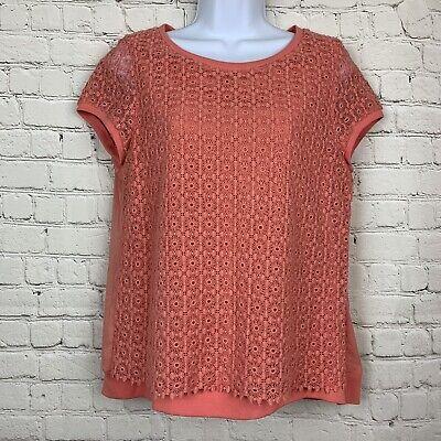 Zara Basic Womens Top Blouse Shirt Orange Floral Lace Eyelet Zipper Back Large