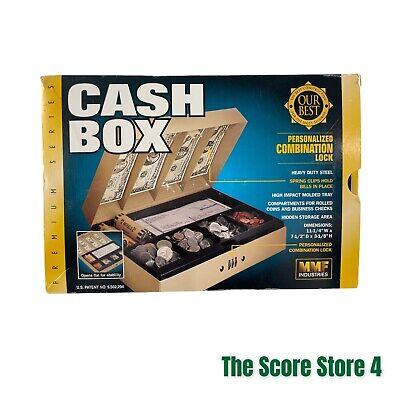 Mmf Metal Flea Market Cash Box With Money Coin Tray Combination Lock Safe