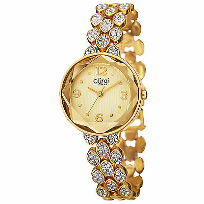 New Women's Burgi BUR124YG Quartz Swarovski Crystals Gold-tone Bracelet Watch