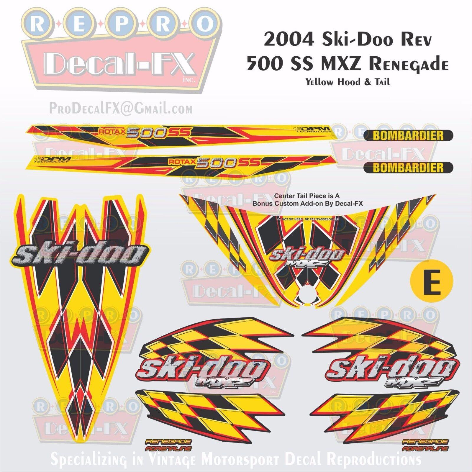 2004 Ski-doo MXZ500SS Yellow Hood & Tail Rev Reproduction Vinyl Decals16Pc DPM