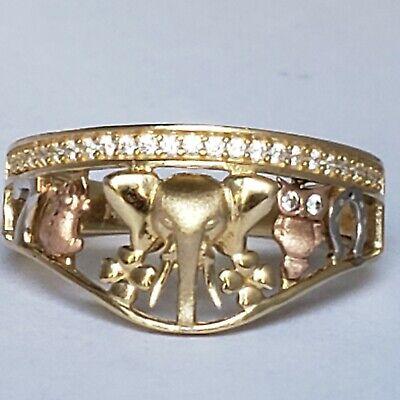 14k gold elephant owl frog 7  horseshoe eye clover turtle good luck ring size 7