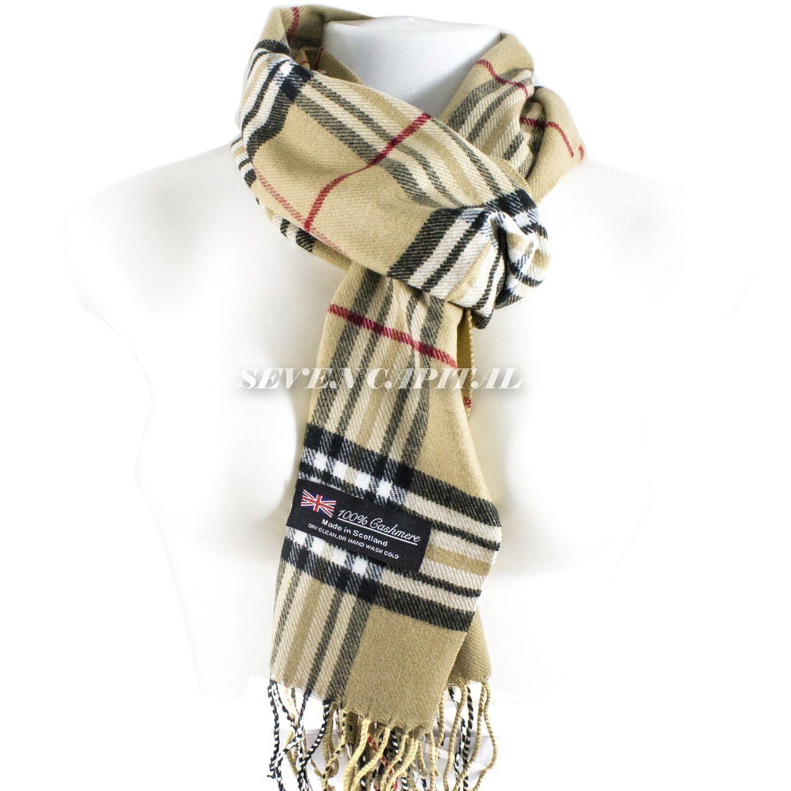 Mens Womens Winter Warm SCOTLAND Made 100% CASHMERE Scarf Scarves Plaid Wool 8. Plaid: Beige/White/Black