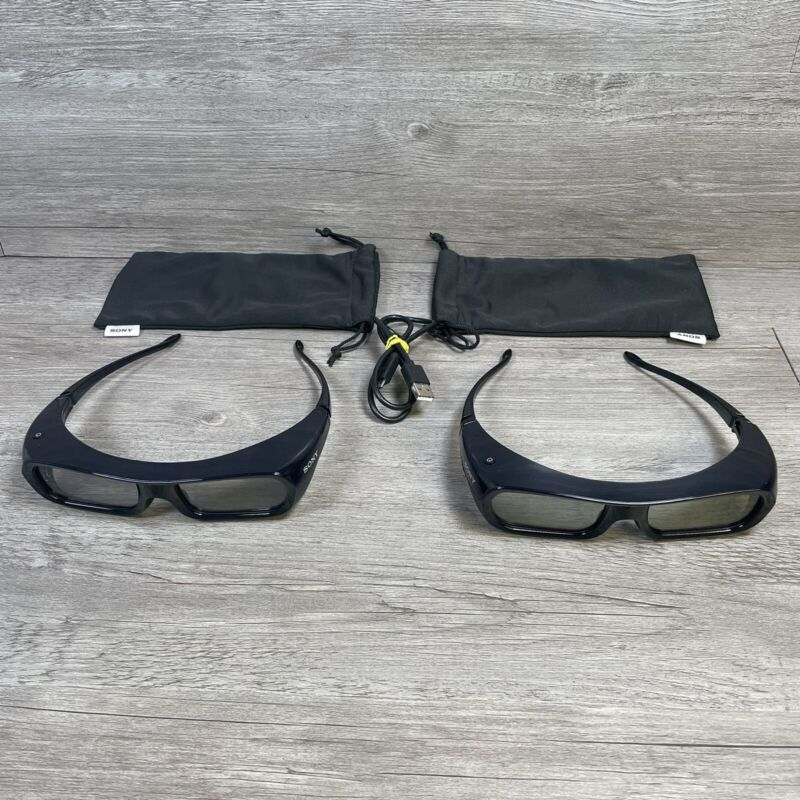 Set of 2 Sony TDG-BR250 3D Adult Glasses Black for Bravia & Others