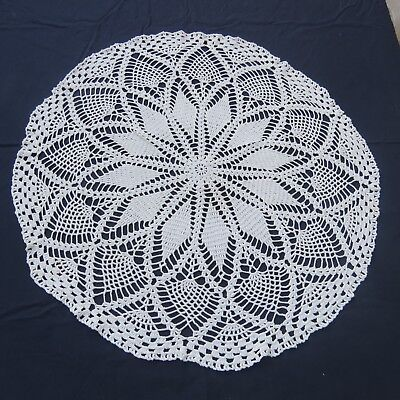 "Hand Crochet Lace Doily 28"" Round White Cotton Pineapple Design"