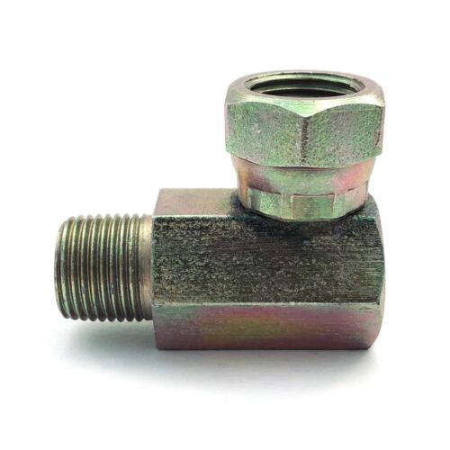 "3/8"" NPTF Male x 3/8"" NPSM Female Pipe Swivel, 90 Degree Elbow 
