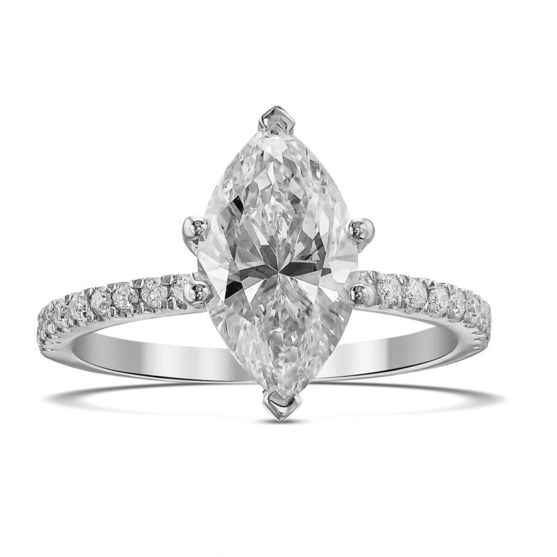 1.50 Carat Diamond Engagement Wedding Ring F Si1 14k White Gold Marquise Shape