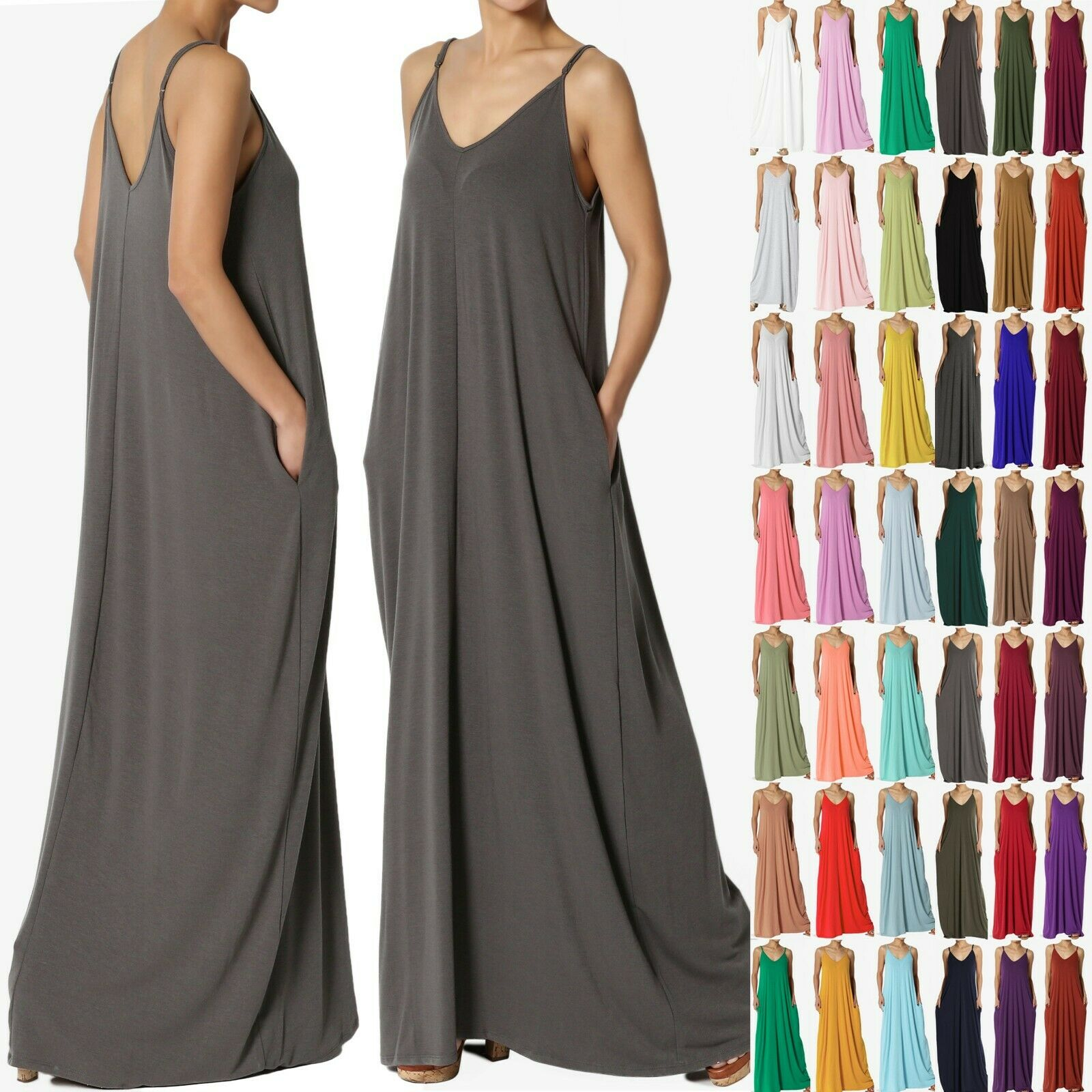 93511c59f1a26 TheMogan S~3X Casual Beach V-Neck Soft Jersey Cami Long Maxi Dress With
