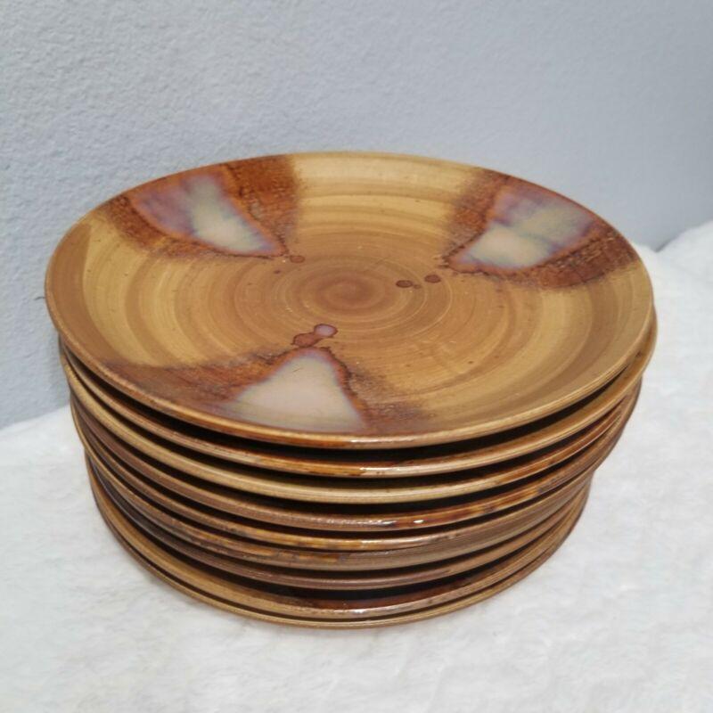 "Sango Splash 10 Salad Plates 4951 Brown Round Great Preowned Condition 8"" Set"