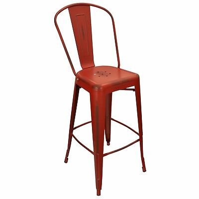 New Oversized Viktor Steel Restaurant Bar Stool With Distressed Kelly Red Finish