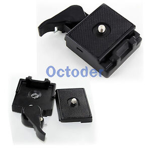 Black Camera Stand Tripod Quick Release Plate Mount Screw Station Adapter Set