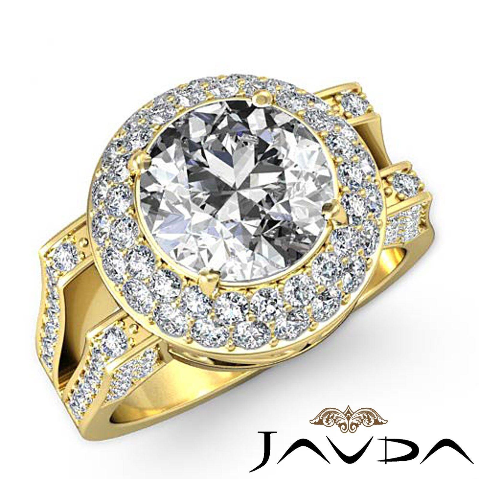 Double Halo Split Shank Round Diamond Engagement Pave Set Ring GIA F VS1 2.6 Ct