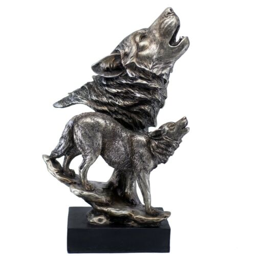 """Silver/Pewter Tone Wolf Wolves Howling Figurine 15"""" High Resin Statue New!"""