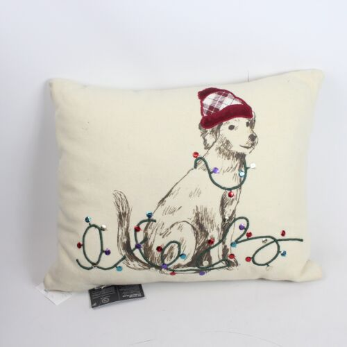 """Martha Stewart Collection Pup in Plaid 16"""" x 20"""" Decorative Pillow Ivory F1341"""