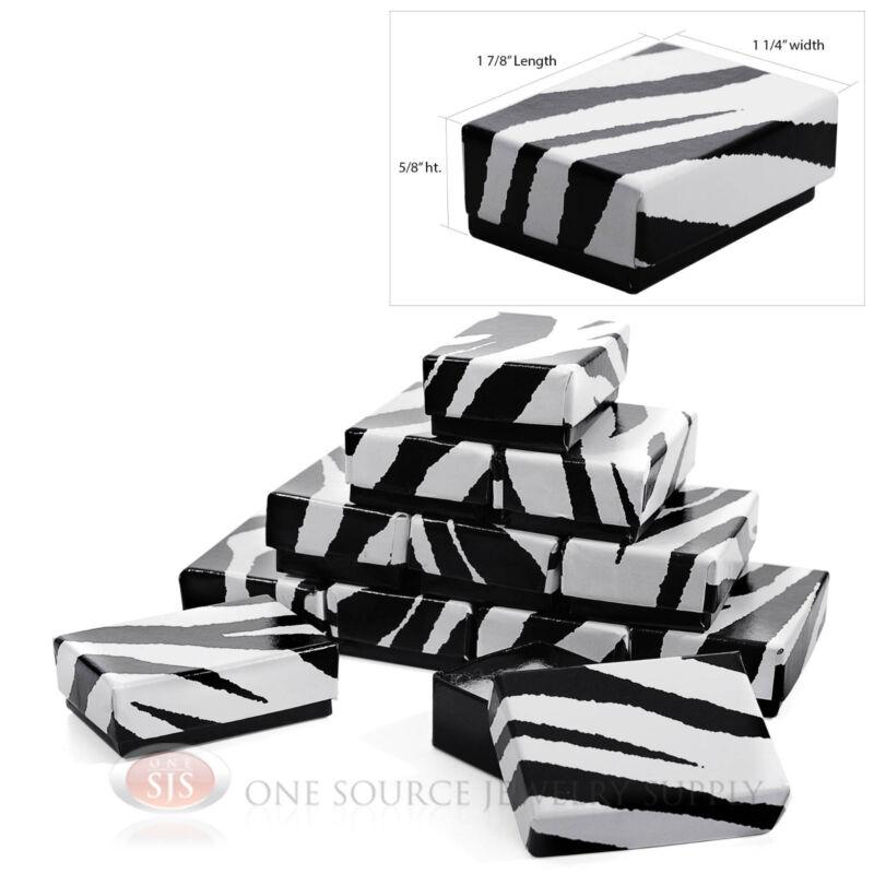 "12 Zebra Print Cotton Filled Gift Boxes 1 7/8"" x 1 1/4"" Jewelry Ring Charm Box"