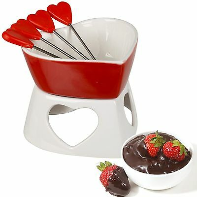 Fun Fondue Set - Heart Ceramic Chocolate Or Cheese Fondue Set With Stainless Steel Forks Kitchen