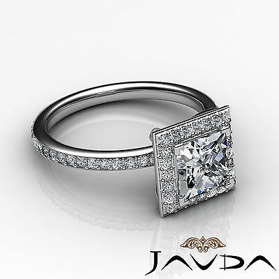 Halo Micro Pave Set Eternity Princess Cut Diamond Engagement Ring GIA G SI1 2Ct 2