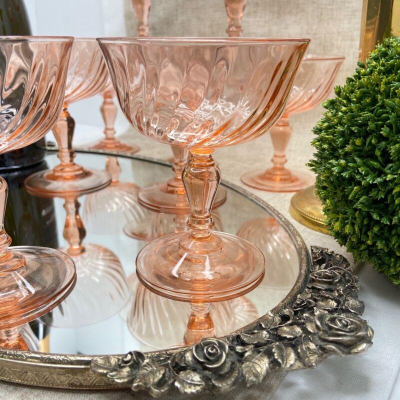 Vintage France Pink Rosaline 10 Champagne Coupe-Dessert Glasses Stemware Weddin