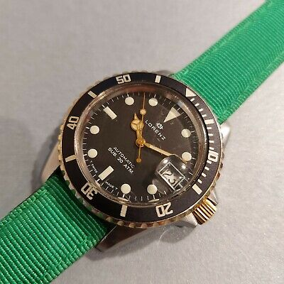 OROLOGIO LORENZ AUTOMATIC SUB. 20 ATM DIVER WATCH SBMARINER STYLE BLACK DIAL !!!