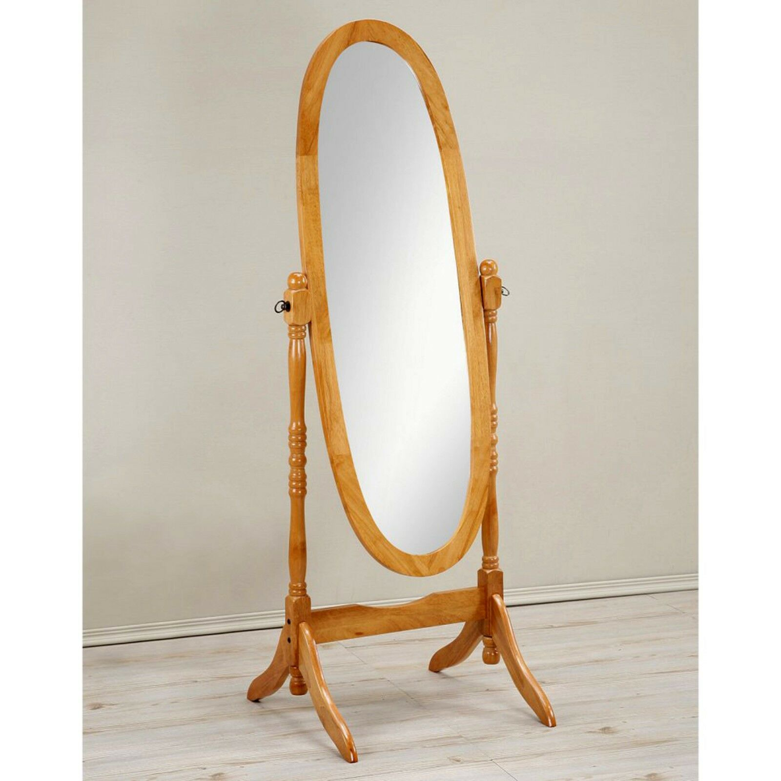 Cheval Floor Mirror Wood Full Length Oval Shape Free Standing Wooden Large Oak Ebay