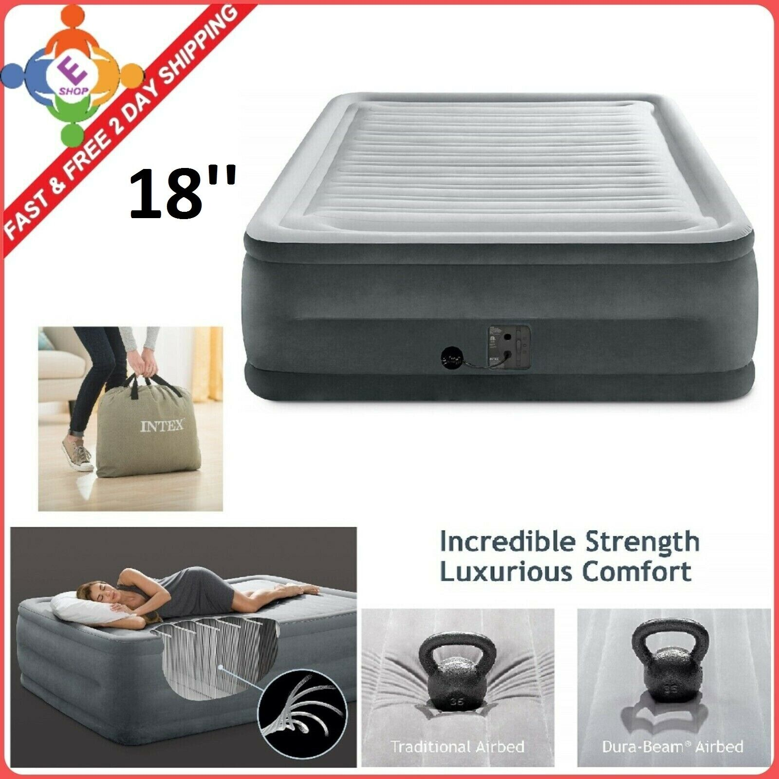 Air Bed Mattress Queen Comfort Elevated Dura Beam Aerobed In
